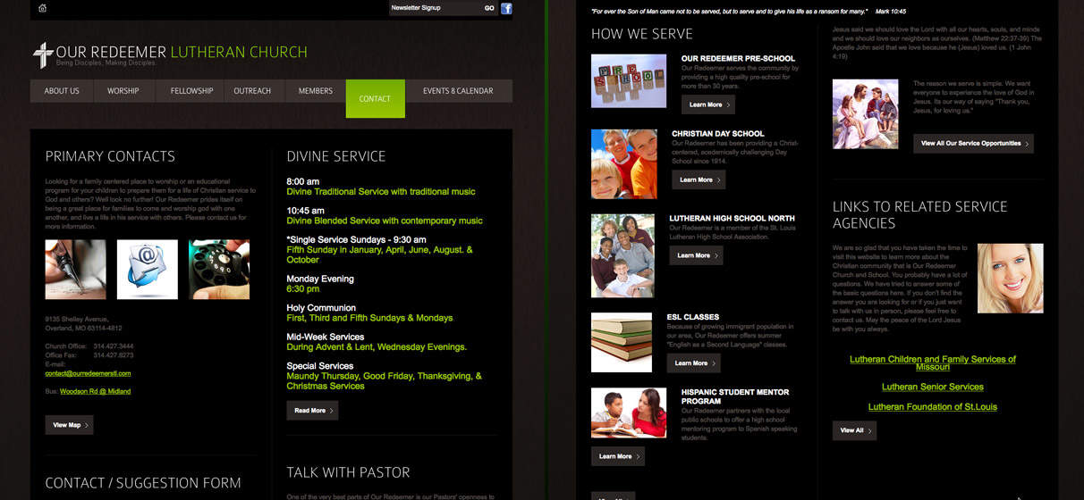 St Louis church theme website and religious content